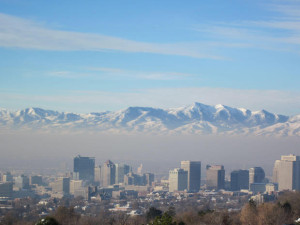 Air pollution in downtown Salt Lake City during a cold air pool on Dec. 2, 2010.