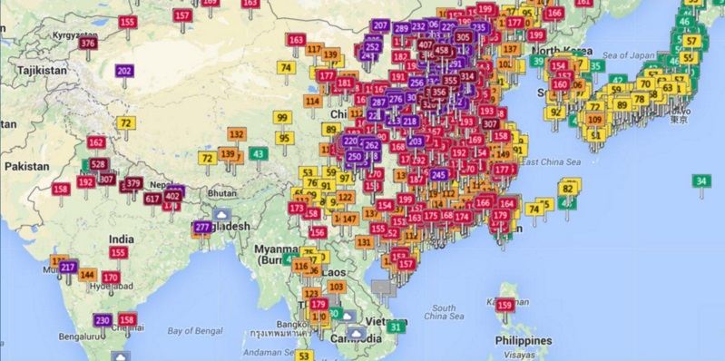Asia air quality on February 10, 2016